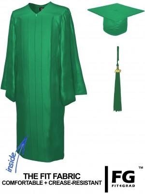 Doktorhut, Talar & Jahreszahlquaste, Qualität Shiny, smaragd-grün