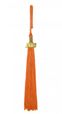 Quaste (Tassel) mit Jahreszahl orange