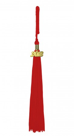 Quaste (Tassel) mit Jahreszahl rot
