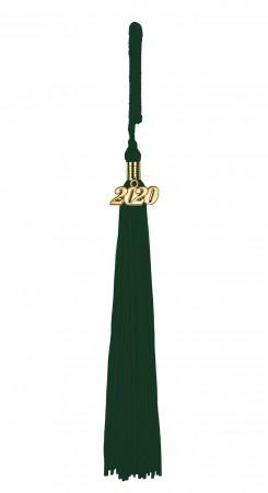 Quaste (Tassel) mit Jahreszahl forst-grün