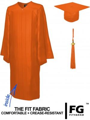 Doktorhut, Talar & Jahreszahlquaste, Qualität Shiny, orange
