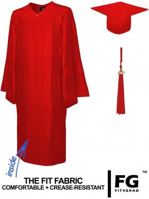 Doktorhut, Talar & Jahreszahlquaste, Qualität Shiny, rot