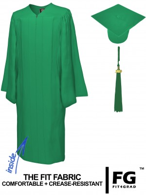 Doktorhut, Talar & Jahreszahlquaste, Qualität Matte, smaragd-grün