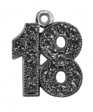 """Jahreszahlanhänger """"18"""" silver bling für Quaste"""