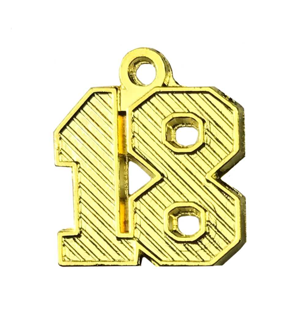 """Jahreszahlanhänger """"18"""" gold für Quaste"""
