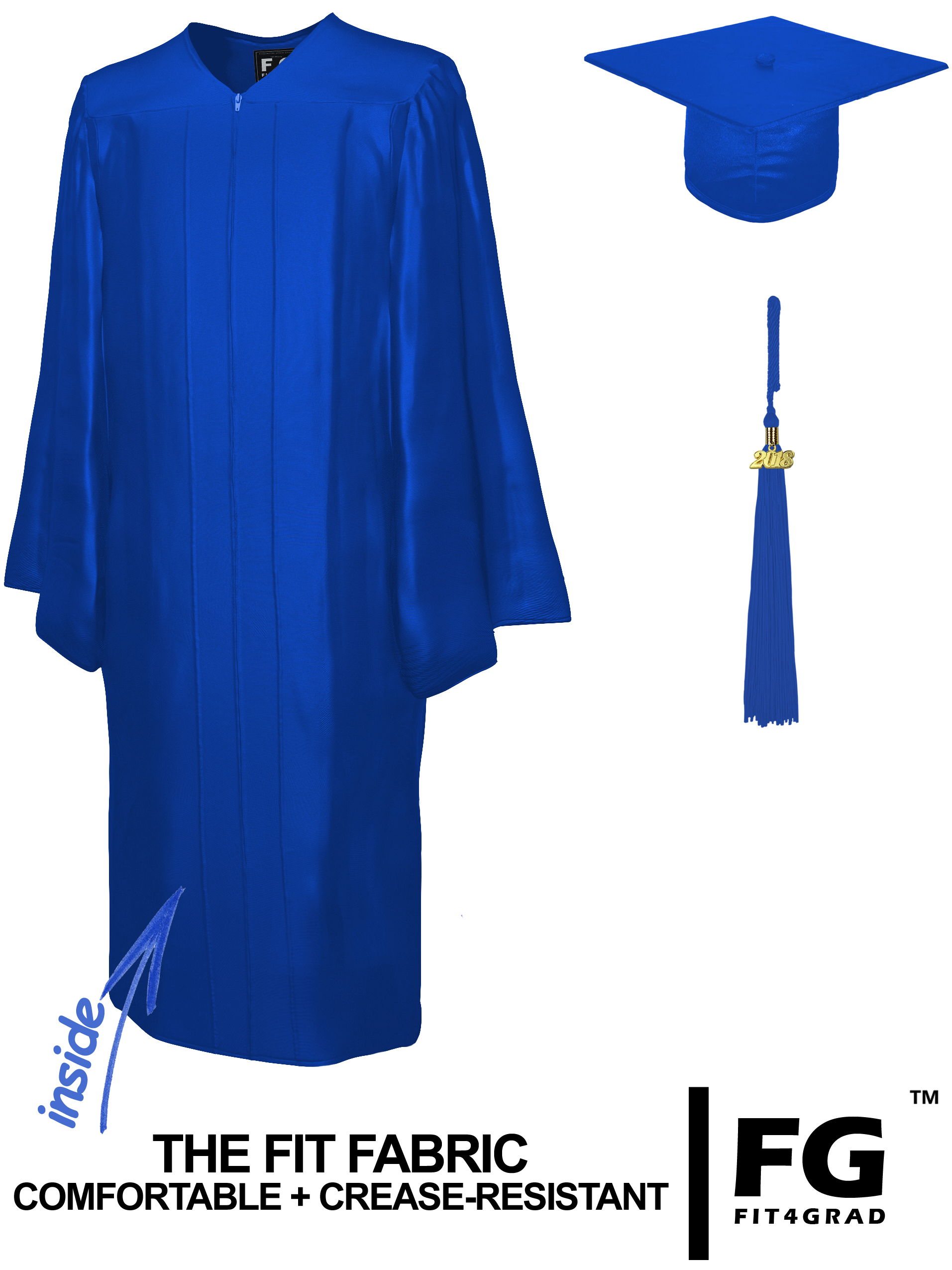 Doktorhut, Talar & Jahreszahlquaste, Qualität Shiny, royal-blau