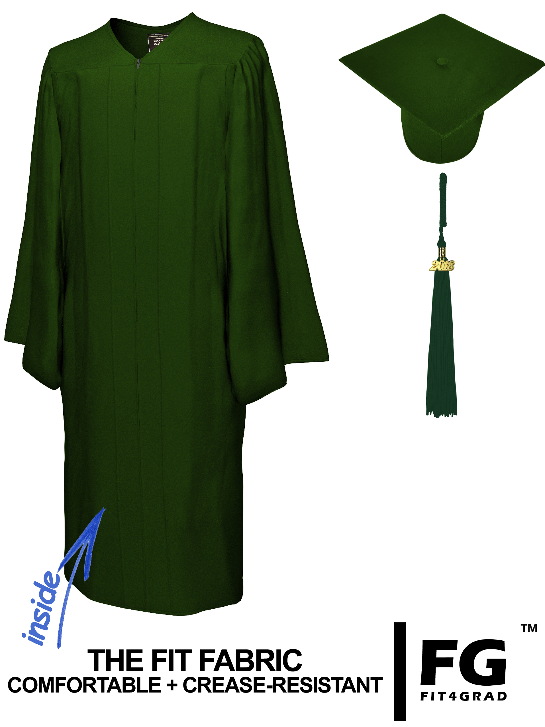 Doktorhut, Talar & Jahreszahlquaste, MATT, forst-grün