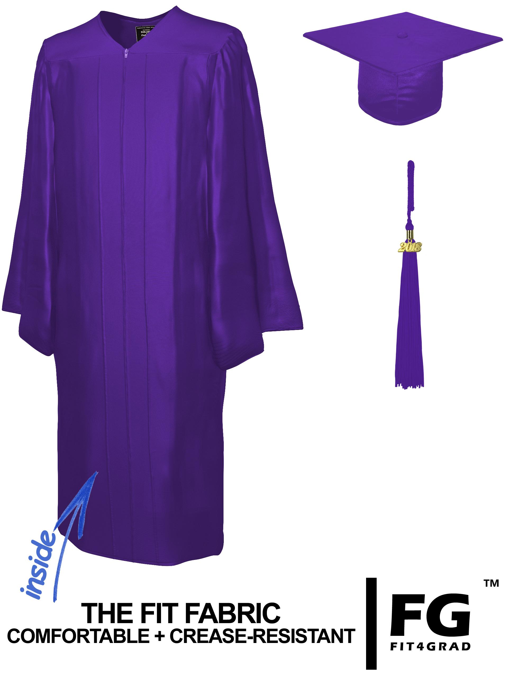 Doktorhut, Talar & Jahreszahlquaste, Qualität Shiny, violett