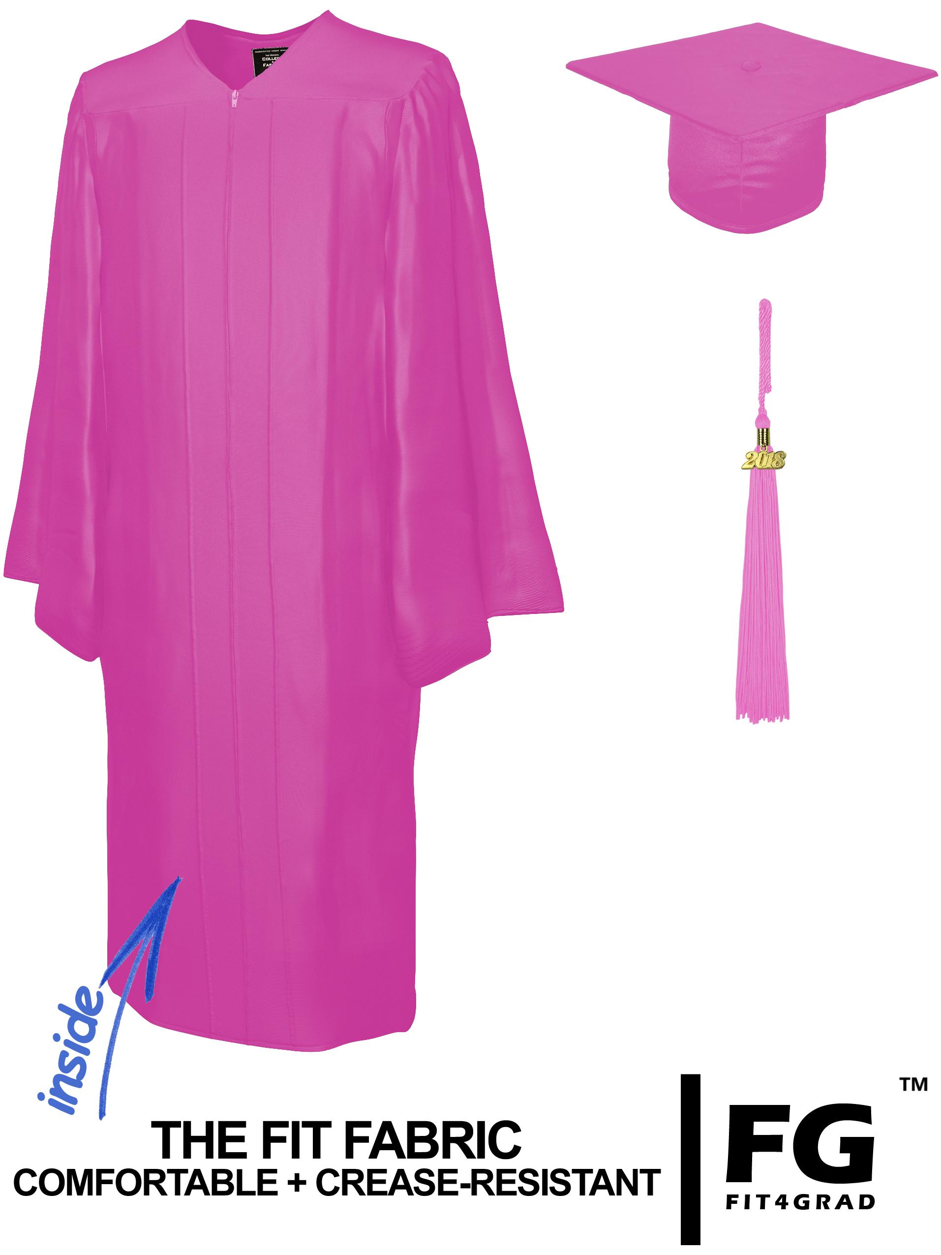 Shiny Bachelor Academic Cap, Gown & Tassel pink-cf103200