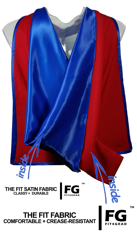 Akademischer Hood in rot-blau