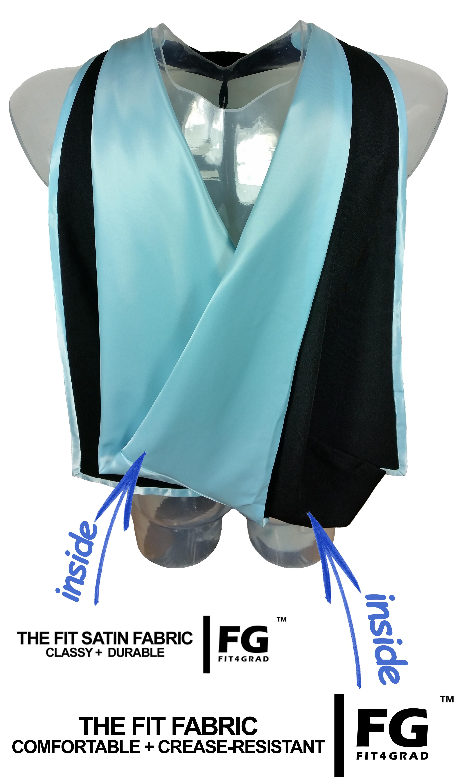 Akademischer Hood in schwarz-hellblau
