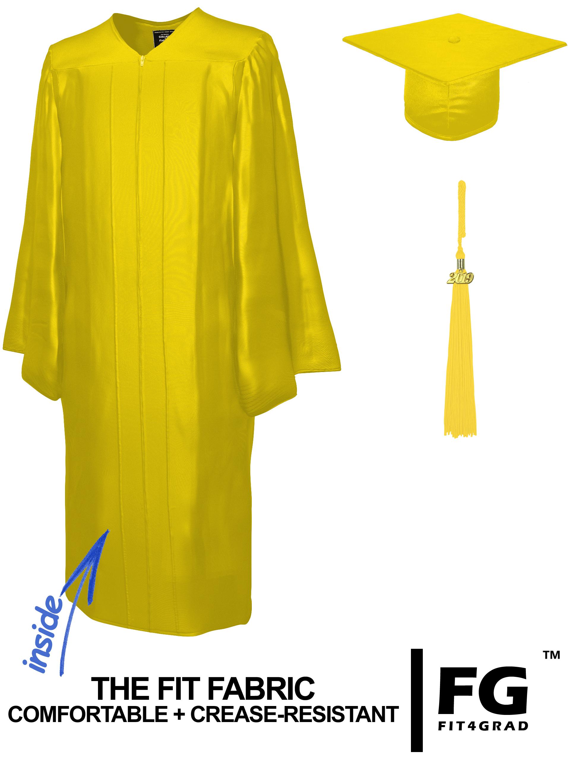Doktorhut, Talar & Jahreszahlquaste, Qualität Shiny, gold-gelb