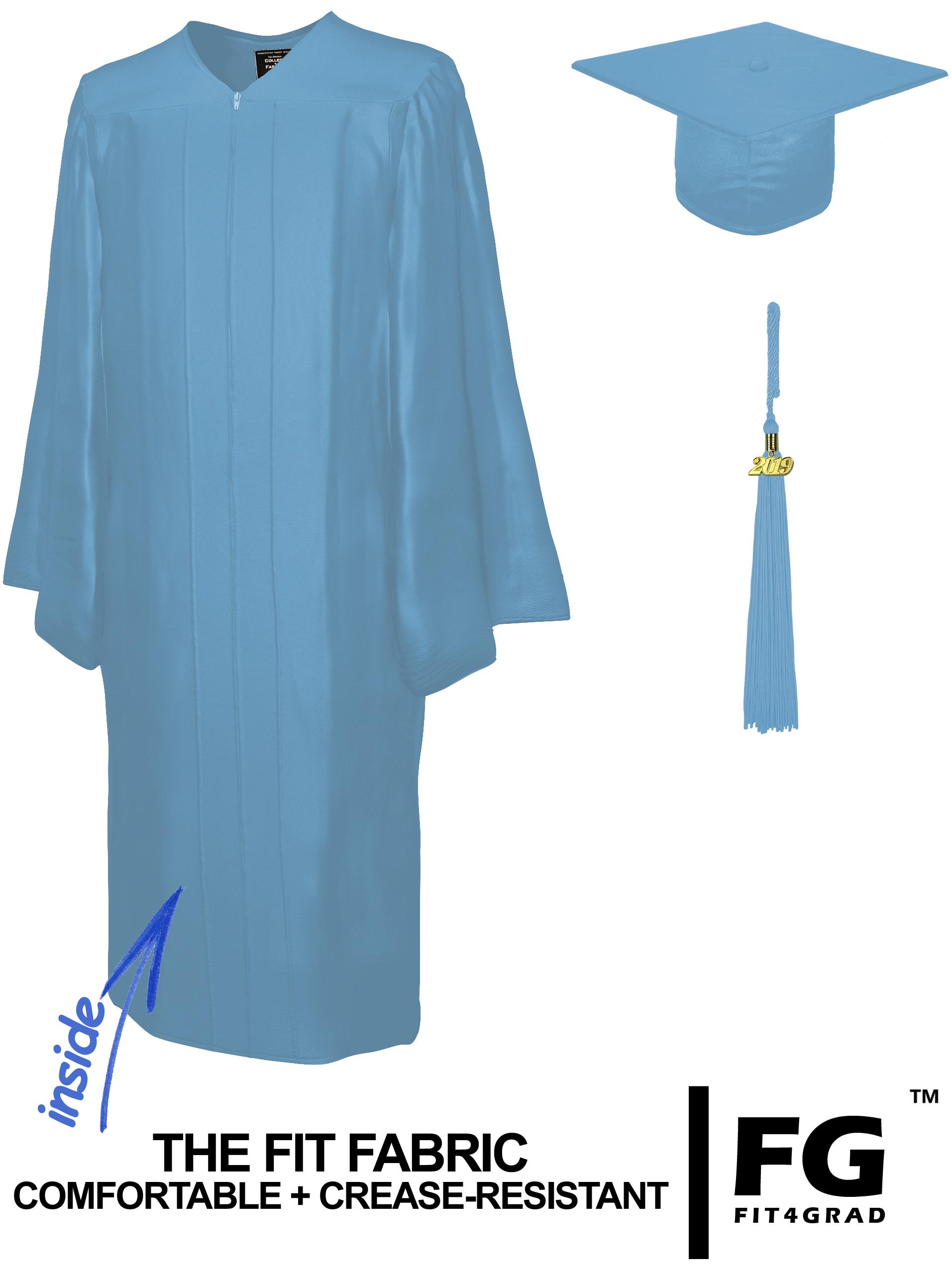 Doktorhut, Talar & Jahreszahlquaste, Qualität Shiny, hell-blau